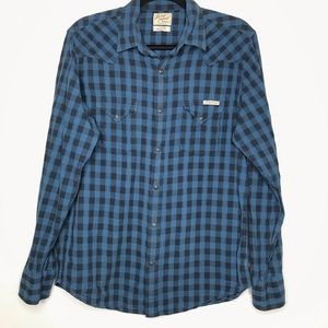 Lucky Brand Plaid Blue & Black Pearl Snap Shirt
